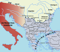 Southeastern Europe in 520, showing the Byzantine Empire under Justin I and the Ostrogothic kingdom.png