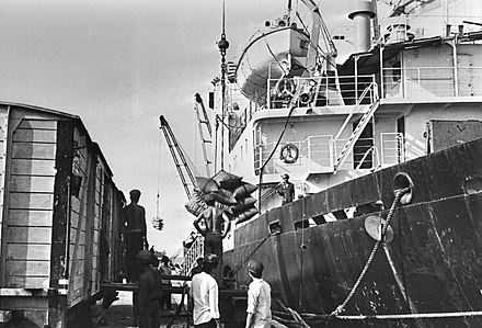A Soviet ship with humanitarian help in Sihanoukville, Cambodia, in November 1979 Soviet ship brings humanitarian help to Cambodia 1979.jpg