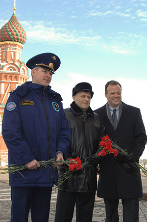 Soyuz TMA-21 - The Soyuz TMA-21 crew members conduct their ceremonial tour of Red Square on March 11, 2011.