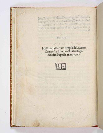 Baptista Mantuanus - Historia ecclesiae Lauretanae, 1489
