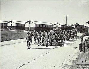 7th Signal Regiment (Australia) - Troops of the Australian Special Wireless Group marching through their camp at Kalinga, Queensland, in July 1945.