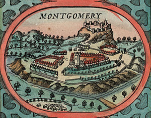Montgomery, Powys - Illustration of Montgomery from John Speed's map of Wales, 1610