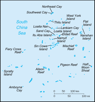 Amboyna Cay - Map of the Spratly islands showing Amboyna Cay