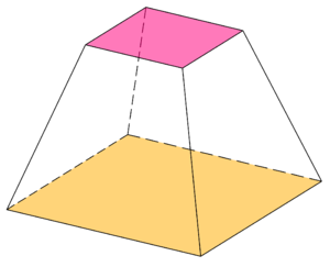 Heronian mean - A square frustum, with volume equal to the height times the Heronian mean of the square areas
