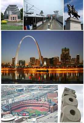 From top left: Forest Park Jewel Box, MetroLink at Lambert-St. Louis International Airport, Apotheosis of St. Louis at the St. Louis Art Museum, the Gateway Arch and the St. Louis skyline, Busch Stadium, and the St. Louis Zoo