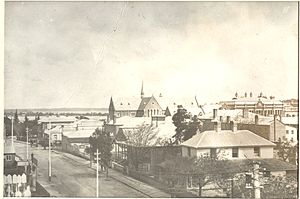 St George's Cathedral, Perth - St George's Cathedral in Perth, from corner Irwin and Murray Streets, circa 1890
