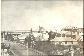 St George's Cathedral, Perth - St George's Cathedral in Perth, from the corner of Irwin and Murray Streets, circa 1890