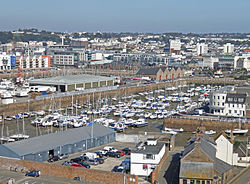 St Helier viewed across the Old Harbour
