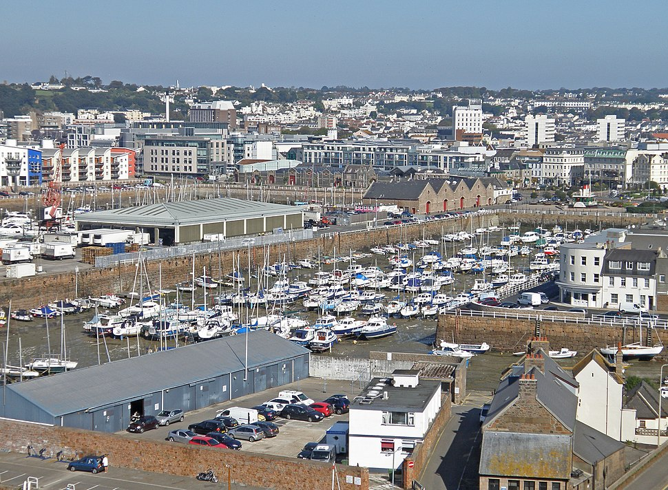 Saint Helier viewed across the Old Harbour