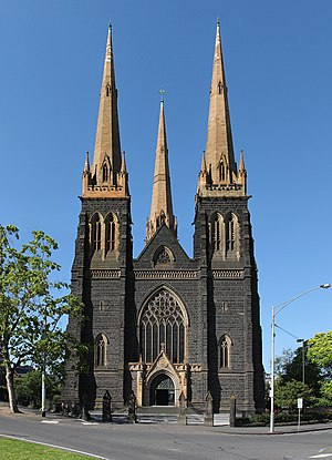 St Patrick's Cathedral, Melbourne - View of the main entrance to the cathedral