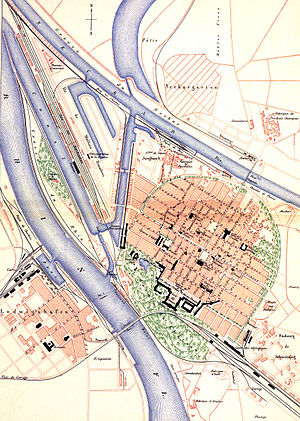 Mannheim - Historical map of Mannheim in 1880
