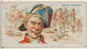 Stede Bonnet - Image: Stede Bonnet, Surrender of Bonnet, from the Pirates of the Spanish Main series (N19) for Allen & Ginter Cigarettes MET DP835004