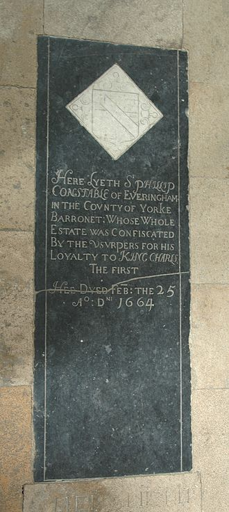 Constable baronets - Tombstone at St Mary's parish church, Steeple Barton, Oxfordshire, of Sir Philip Constable, 1st Baronet
