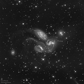 Stephan's Quintet - Earthbound monochrome (sdss-g filtered) image of Stephan's Quintet from the Liverpool Telescope