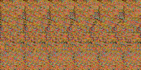"A random dot autostereogram encodes a 3D scene which can be ""seen"" with proper viewing technique"