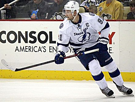 Named to the position in 2014, Steven Stamkos is the current captain of the Lightning. Steven Stamkos 2014-03-22.JPG