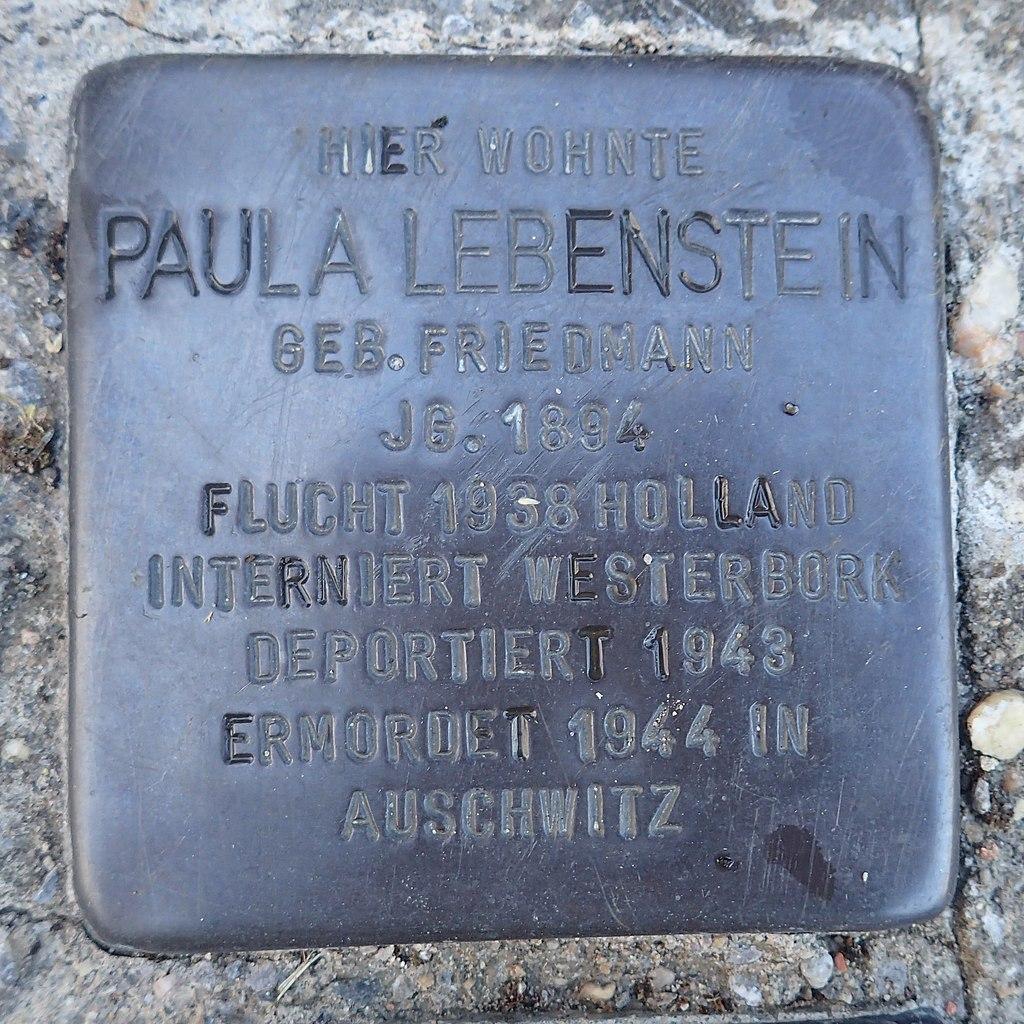 Stolperstein für Günter, Herta, Josef und Paula Lebenstein und Peter Münzer