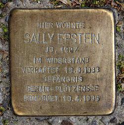 Photo of Sally Epstein brass plaque