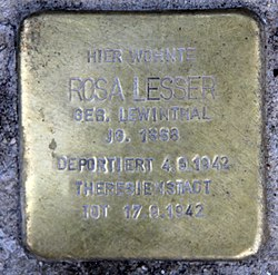 Photo of Rosa Lesser brass plaque