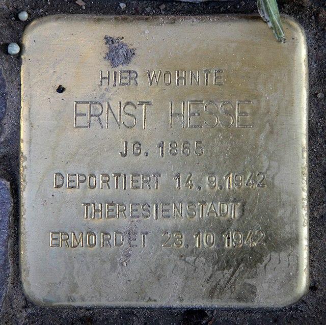 Photo of Ernst Hesse brass plaque