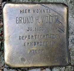 Photo of Bruno Harry Wolff brass plaque