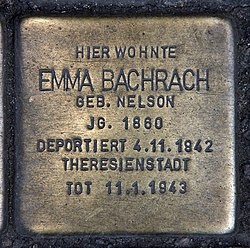 Photo of Emma Bachrach brass plaque