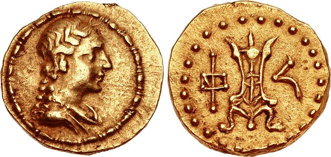 "Gold coin of Strato I, with the ""Divine Agathokleia"". Strato I Soter with the Divine Agathokleia.jpg"