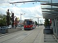 Streetcar arrives at Keele from Gunns Loop.JPG