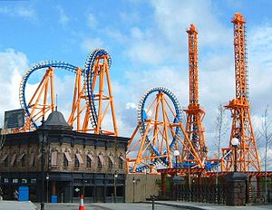 Amusement park - Stunt Fall at Parque Warner Madrid, Madrid, Spain
