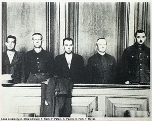 Stutthof trials - At trial, 1947, Gdańsk. Left to right: Hans Rach, Fritz Peters, Albert Paulitz, Ewald Foth, and Theodor Meyer