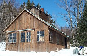 Sugar shack - A sugar shack, where sap is boiled down to maple syrup.