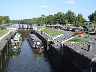Sunbury Lock lock on the River Thames in England near Walton-on-Thames in north-west Surrey