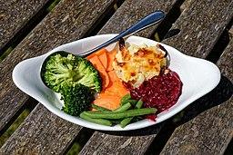 Sunday roast vegetable side dish at The Stag, Little Easton, Essex, England
