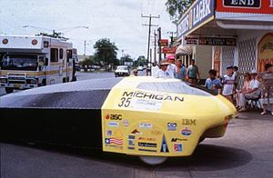 American Solar Challenge - University of Michigan's Sunrunner, winner of the inaugural Sunrayce USA in 1990.