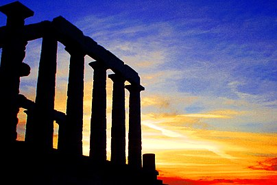 Sunset from the temple of Poseidon, Cape Sounio, Greece - panoramio.jpg