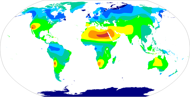 Annual sunshine hours map of the world < 1200 h 1200-1600 h 1600-2000 h 2000-2400 h 2400-3000 h 3000-3600 h 3600-4000 h > 4000 h Sunshine.png
