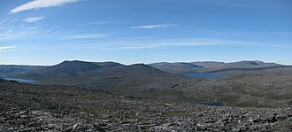 Scandinavian Mountains - Landscape as seen from Meekonvaara (1019m) towards the highest fells