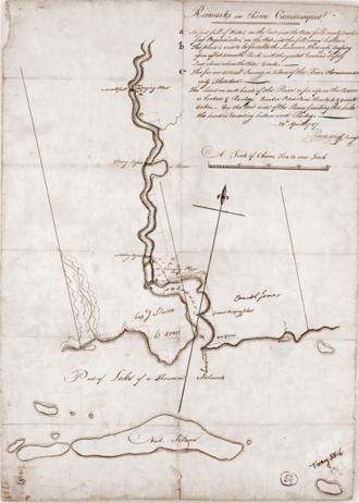 Gananoque - A surveyor's map of Gananoque from 1787