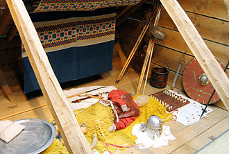 English people - A reconstruction of an Anglo-Saxon burial chamber at Sutton Hoo, East Anglia.