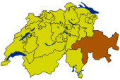 Map of Switzerland highlighting the Canton of Grisons