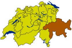 Map of Switzerland, location of Grisons highlighted