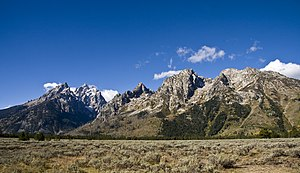 Mount Saint John - Teton Range left to right with the Cathedral Group, Cascade Canyon, Symmetry Spire, Mount Saint John and Rockchuck Peak