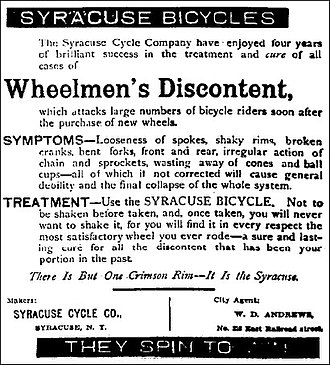 John Wilkinson (Franklin automobile) - Syracuse Cycle Company - advertisement - The Daily Standard, April 21, 1896