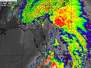 Tropical Storm Barry (2007) - Tropical Depression Barry shortly after landfall in Florida on June 2