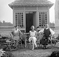 Tableau, man, woman, girl, wooden cottage, garden furniture, deck chair, garden Fortepan 1191.jpg