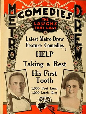 Mr. and Mrs. Sidney Drew - Ad for Help, Taking a Rest, and His First Tooth (1916).