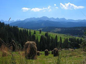 Podhale - Podhale. View from Tarasówka, with Tatra Mountains at the horizon line