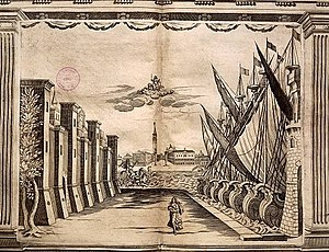 Teatro Novissimo - One of Torelli's set designs for the Teatro Novissimo depicting the City of Venice