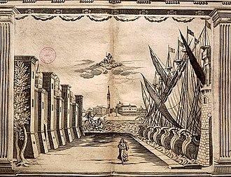 Teatro Novissimo - One of Torelli's set designs for the Teatro Novissimo depicting the City of Venice