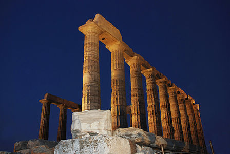 Greek Temple at Night
